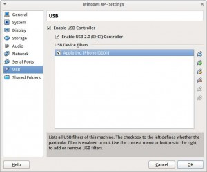 Setting the USB filter for the iPhone