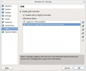 Setting the USB filter for the recovery mode iPhone